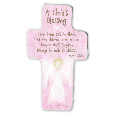A Child's Blessing: Jesus Said To Them Cross Plaque Tissue Wrapped & Boxed