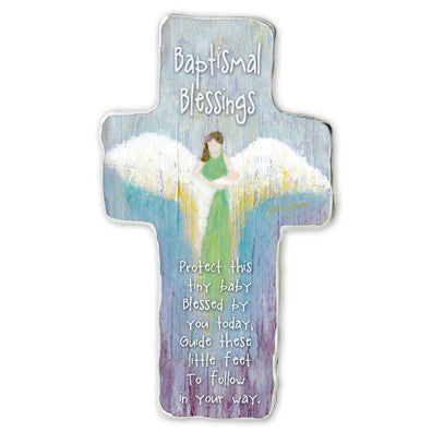 Baptismal Blessing Cross Plaque Tissue Wrapped & Boxed
