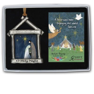 O Holy Night Nativity Ornament with Gold Ribbon Gift Box with Card
