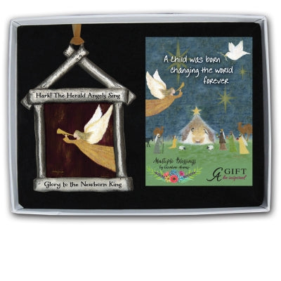 Hark The Herald Angel Nativity Ornament with Gold Ribbon Gift Boxed