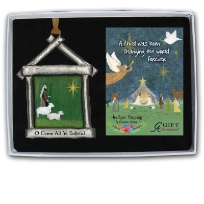 O Come All Ye Faithful Nativity Ornament with Gold Ribbon Gift Boxed