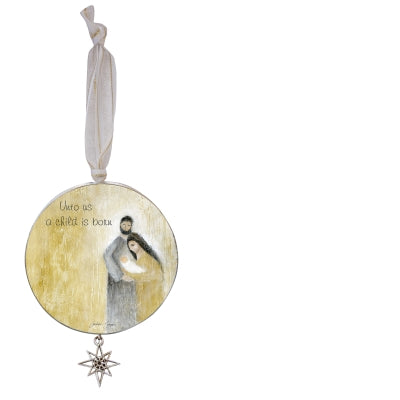 Child Is Born Ornament W/Star Charm on White Ribbon