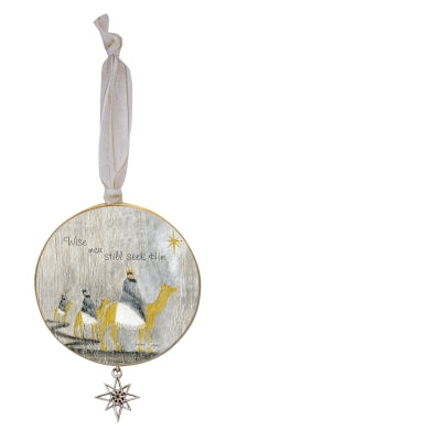 Wise Men Still Seek Him Ornament  with Star Charm on White Ribbon