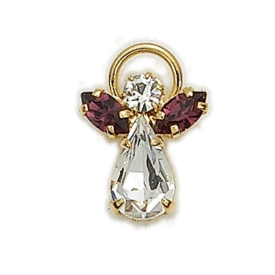 Birthstone Guardian Angel Pin February