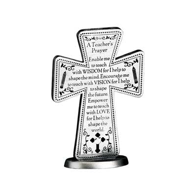 3 In A Teacher's Prayer Standing Message Cross Gift Boxed