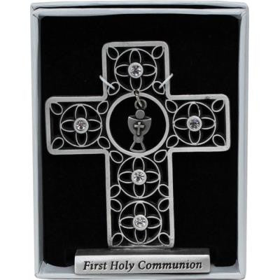 First Communion Small Standng Cross W/Chalice & Crystals Gift Boxed
