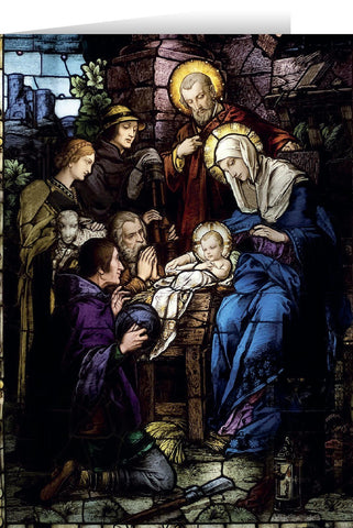 Stained Glass Card Nativity