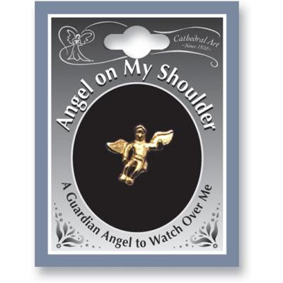 Gold Angel On My Shoulder Lapel Pin Carded
