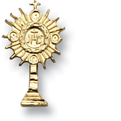 Gold Monstrance Lapel Pin Carded