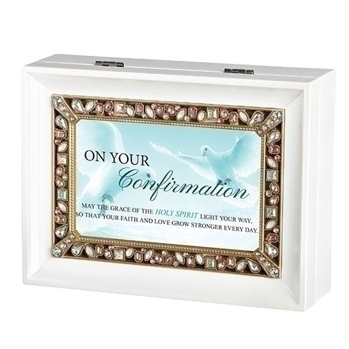 Confirmation White Music Keepsake Box