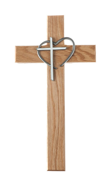 "12"" Oak Wood Cross With Heart and White Epoxy Cross"