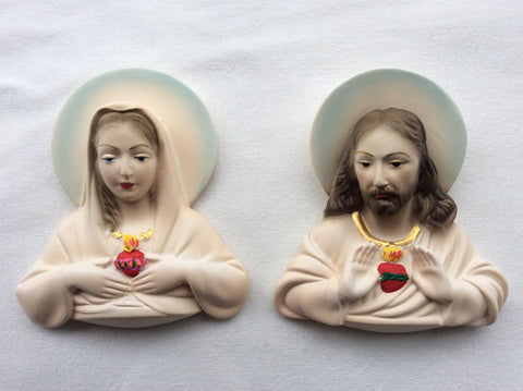 Sacred Heart of Jesus & Immaculate Heart of Mary Plaque 6""