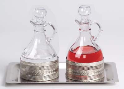 Processional Cruet Set, w/ Stainless Tray