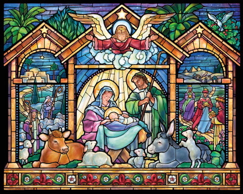 Stained Glass Nativity Christmas Jigsaw Puzzle