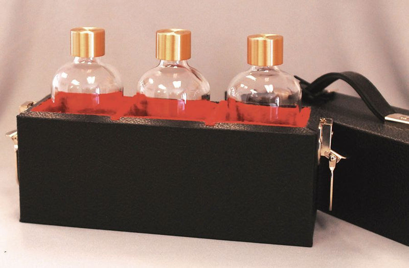 Oil Carry Case- 3 - 8 Oz. Bottles With Case, Engraved Caps