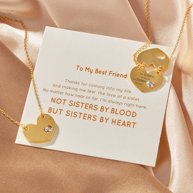 Golden Heart Necklace - Not Sisters By Blood But Sisters By Heart
