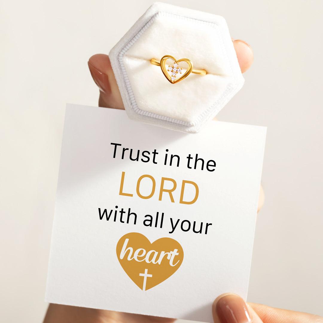 Trust in the Lord Cross in Heart Ring
