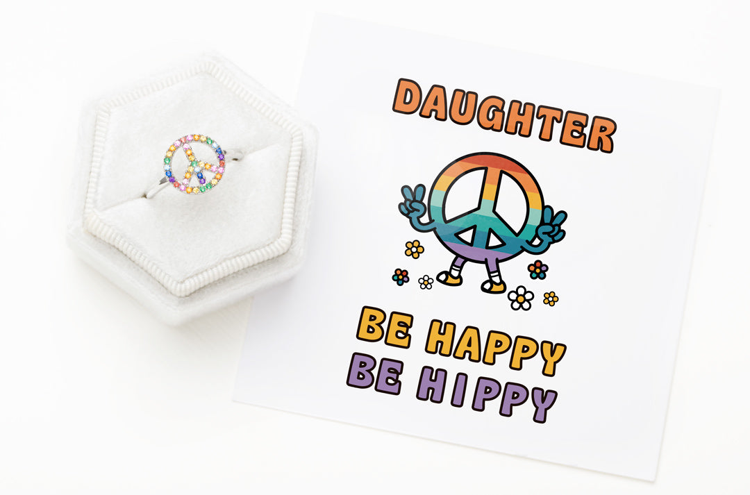 Peace Sign Ring-Daughter Be Happy Be Hippy