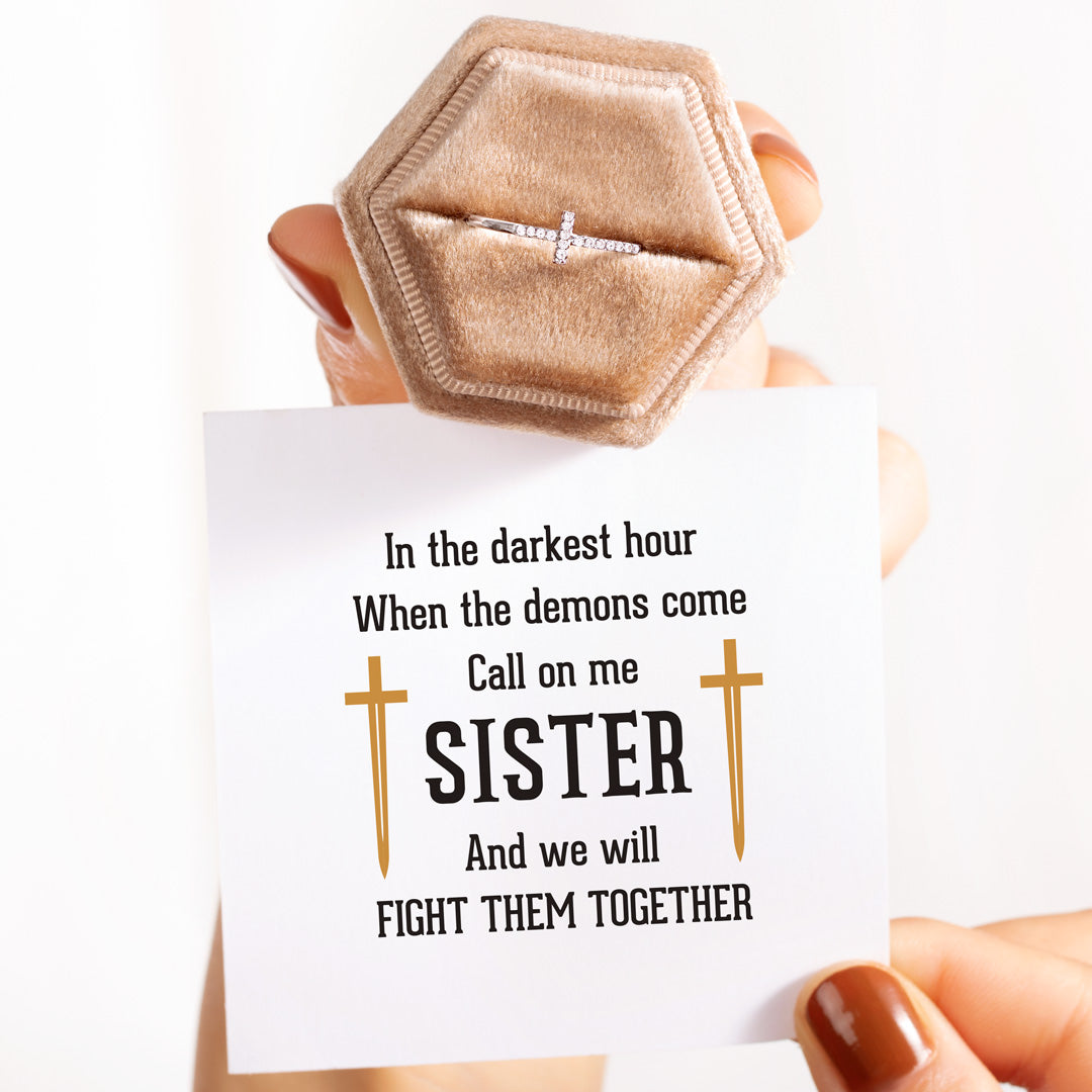 christianity cross ring - call on me sister