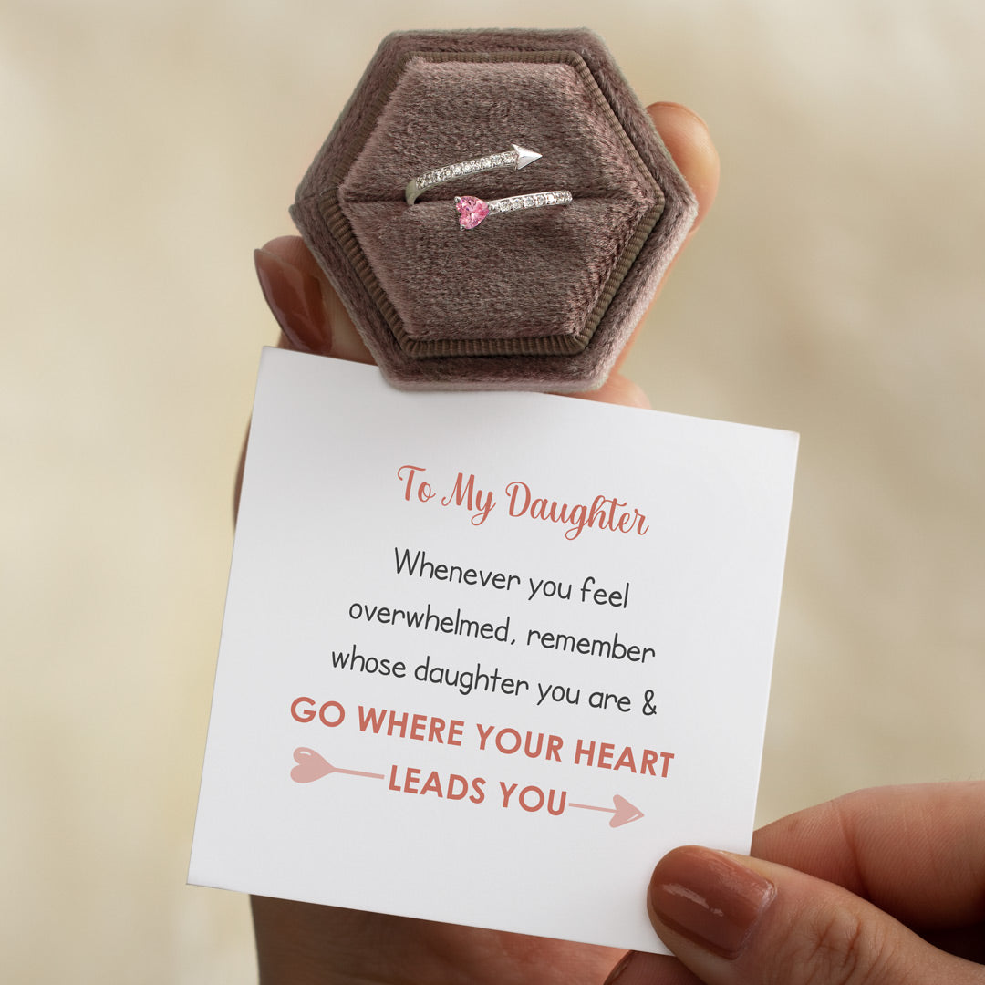 Arrow & Heart Ring-To My Daughter