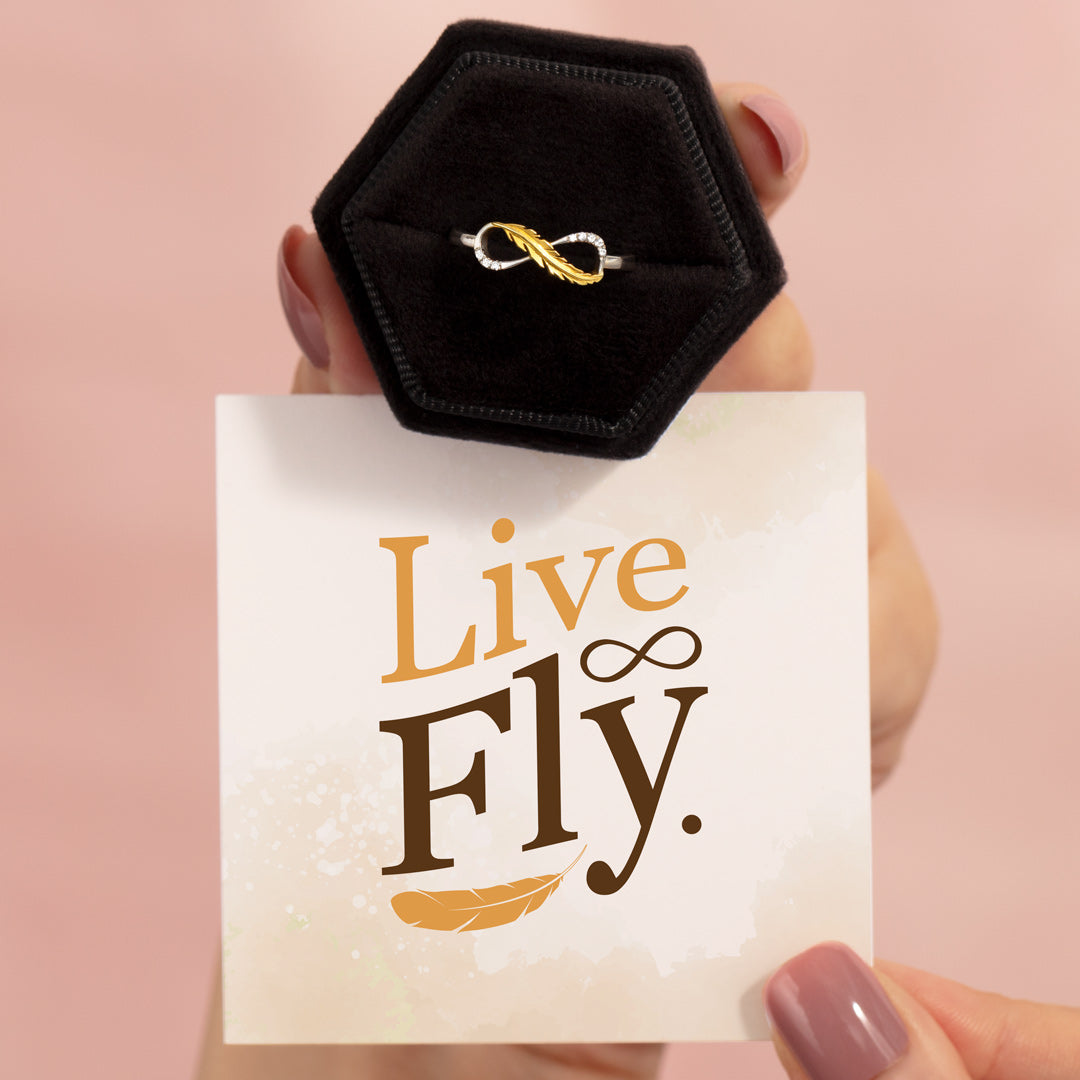 Plume Feather Infinity Ring - Live Fly