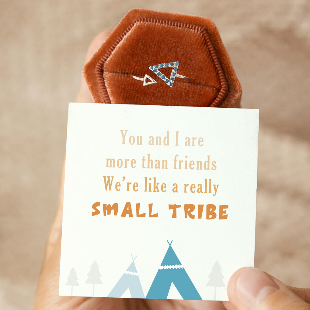 Aquamarine Triangle Ring - We Are Like A Really Small Tribe