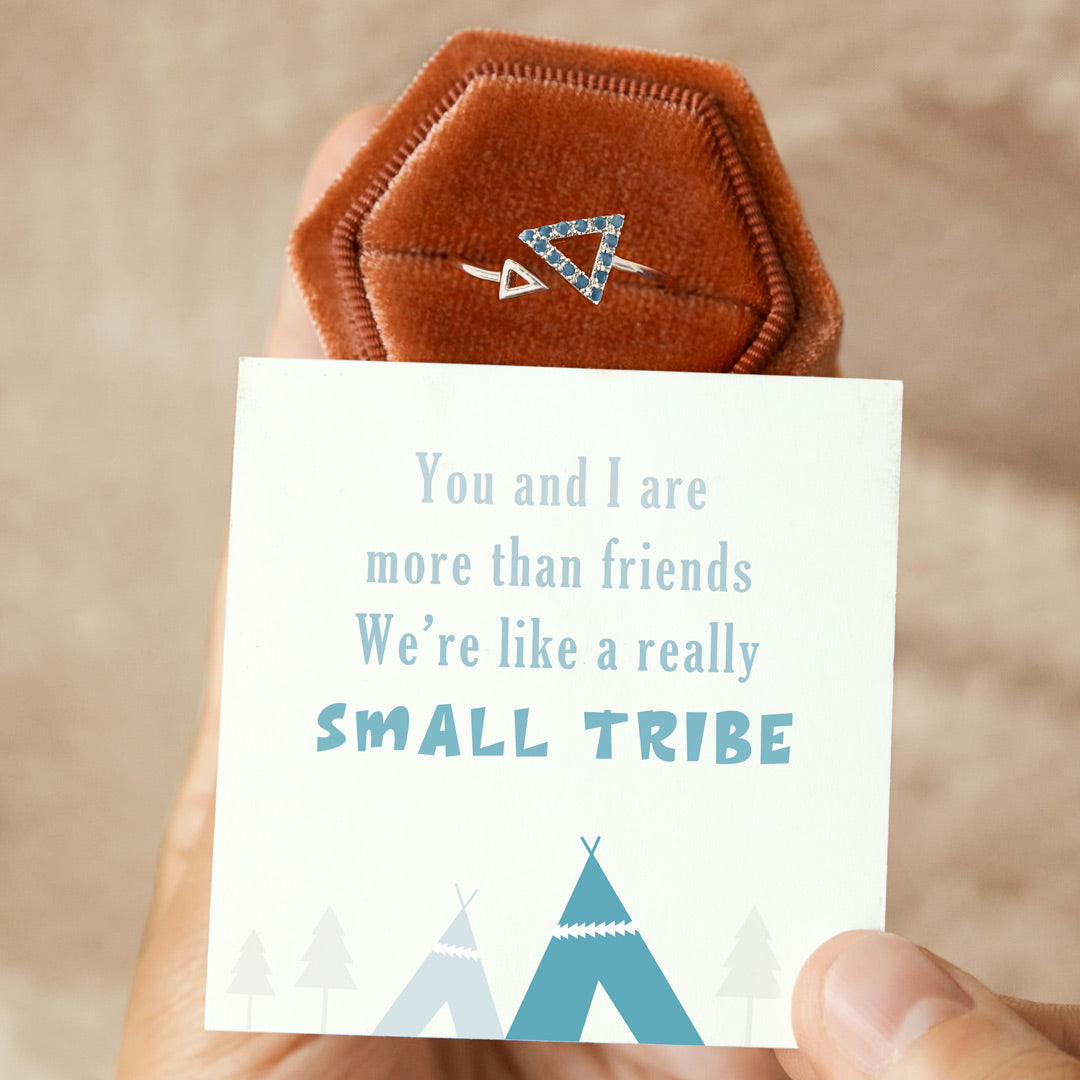 Aquamarine Blue Triangle Ring - We Are Like a Really Small Tribe