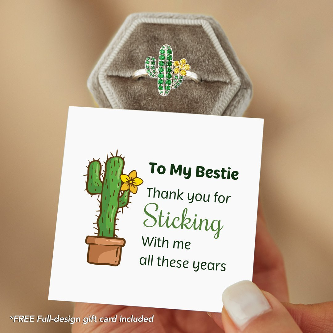 Pavé Succulent Cactus Ring - To My Bestie Thank You for Sticking with Me