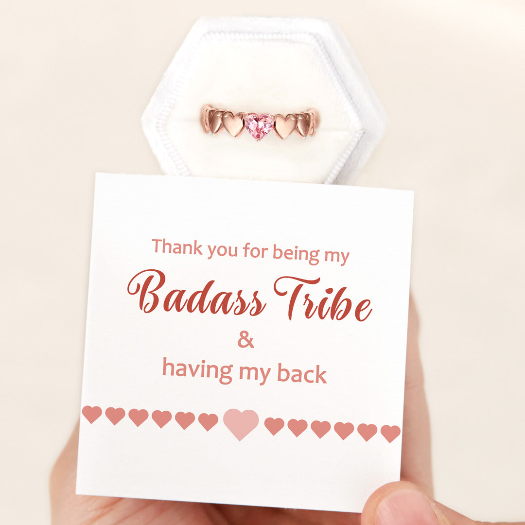Rose Gold Heart Band Ring-Badass Tribe
