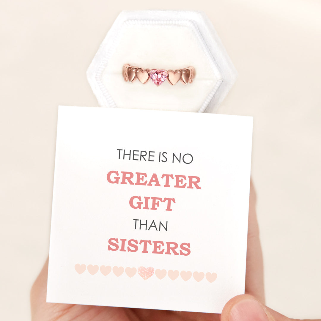 Heart Band Ring - No Greater Gift Than Sisters