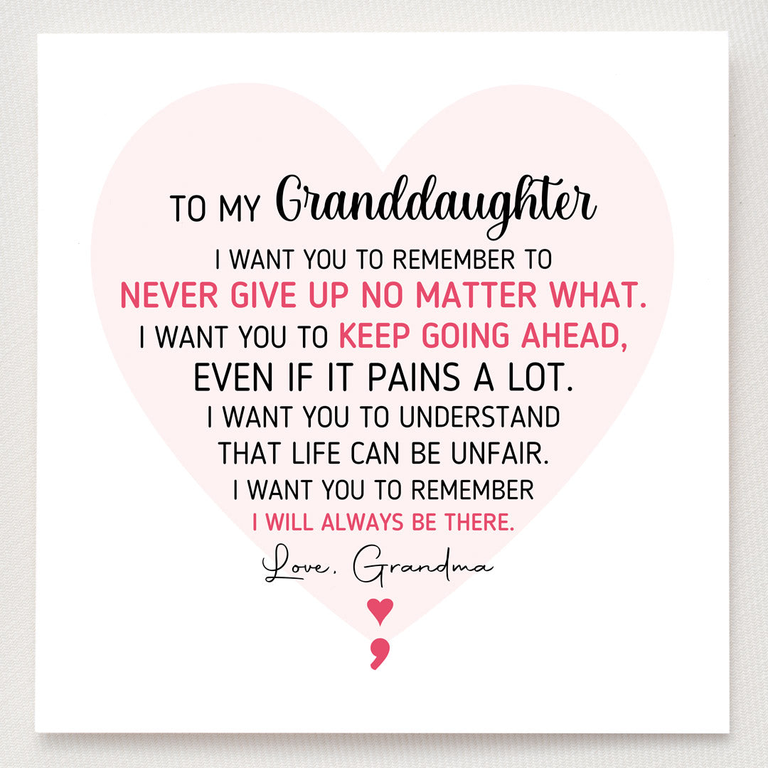 Semicolon Ring-Granddaughter Never Give Up No Matter What