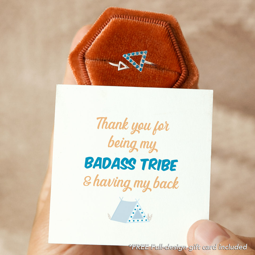 Aquamarine Blue Triangle Ring - Thank You for Being My Badass Tribe