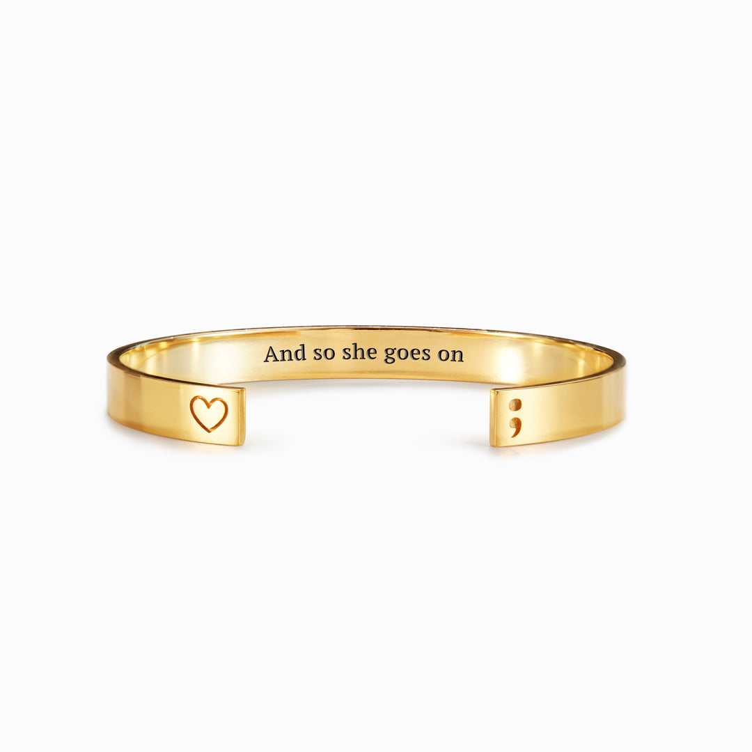 Engraved Semicolon Bangle - And So She Goes On