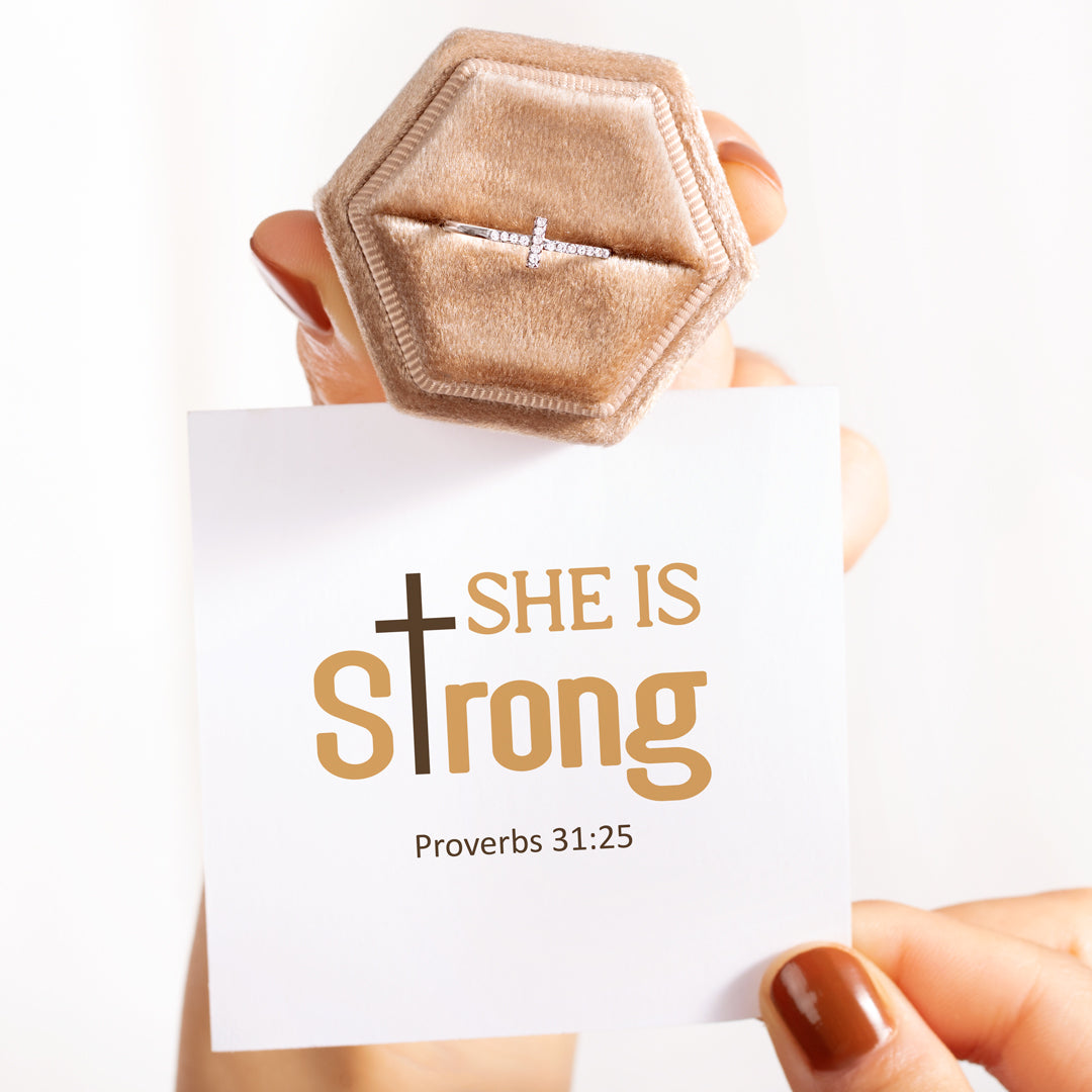 Christianity Cross Ring - She Is Strong