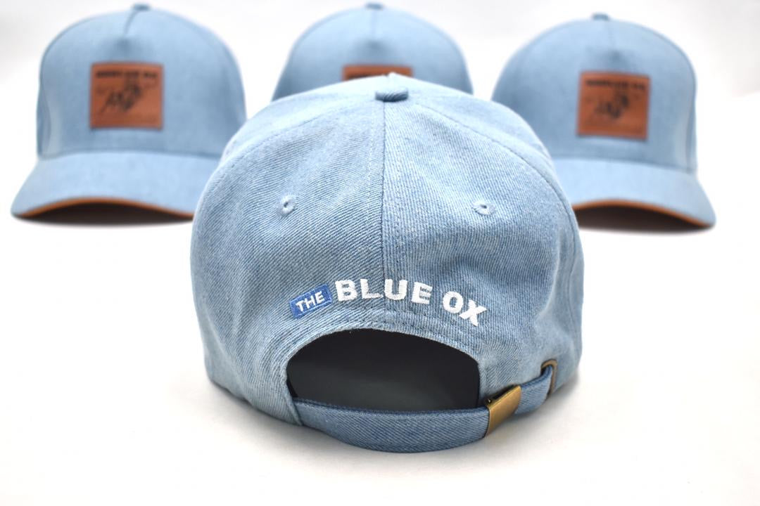THE BLUE OX LEATHER PATCH HAT-CLASSIC DENIM