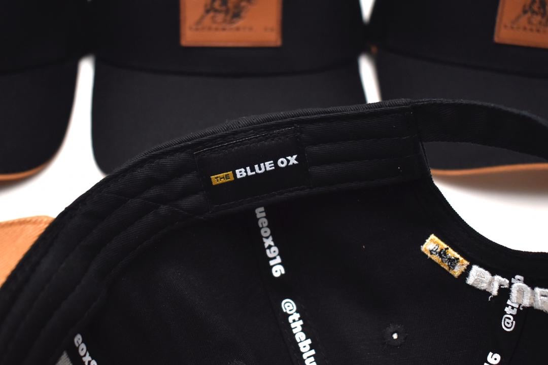 THE BLUE OX LEATHER PATCH HAT-BLACK