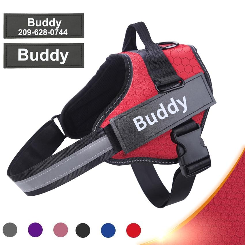 "Adjustable Reflective "" No Pull"" Dog Harness Vest, With Customized ID Patch for Small and Large Dogs - Hound Hammock"