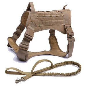 Military Style Tactical Dog Harness With Front Clip. Durable Vest with Adjustable Strap For Small and Large Dogs. - Hound Hammock