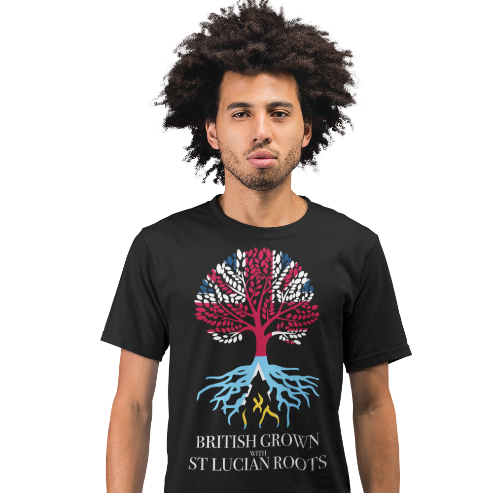 Unisex Short Sleeve T Shirt - British Grown With St Lucia Roots