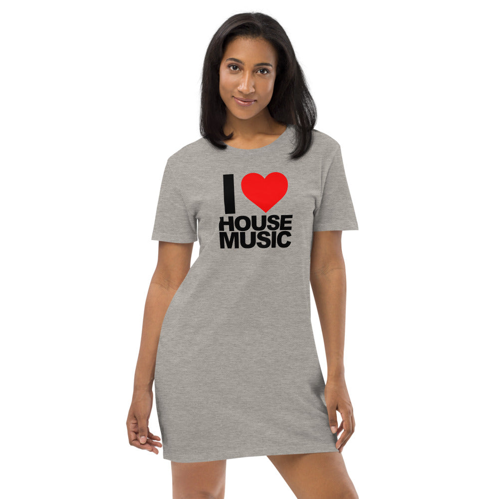 Organic Cotton T Shirt Dress - I Love House Music