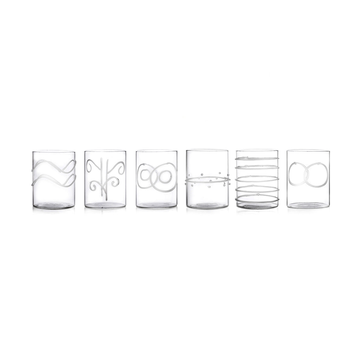 6-Piece Deco White Water Glasses Set
