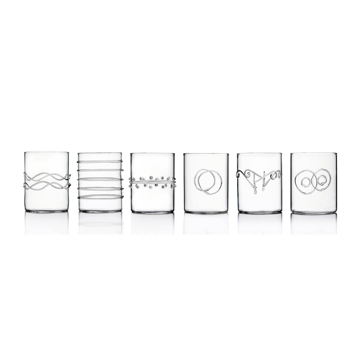 6-Piece Deco Clear Water Glasses Set