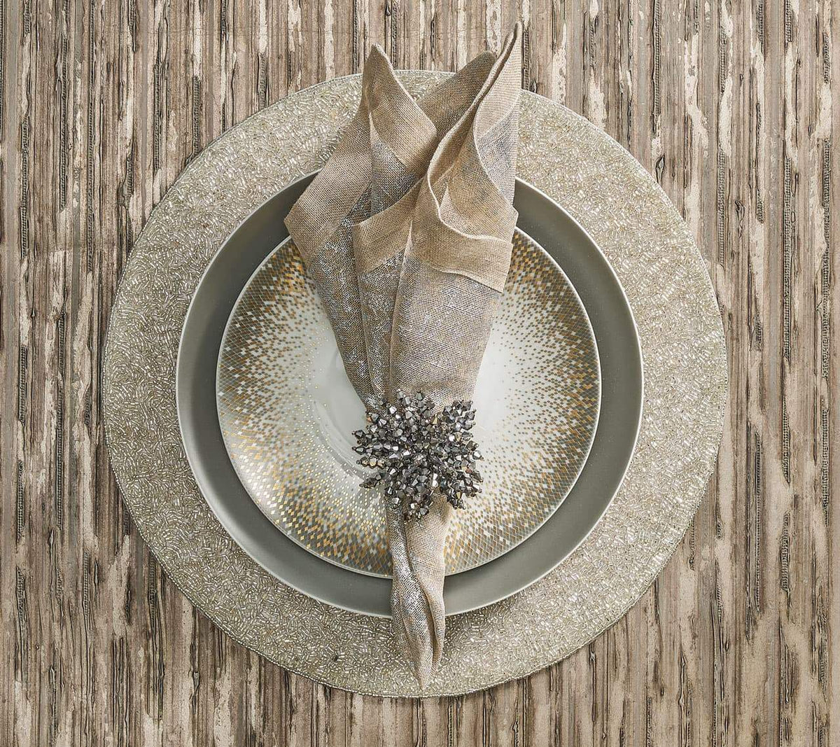 Distressed Napkin Natural & Silver, Set of 4