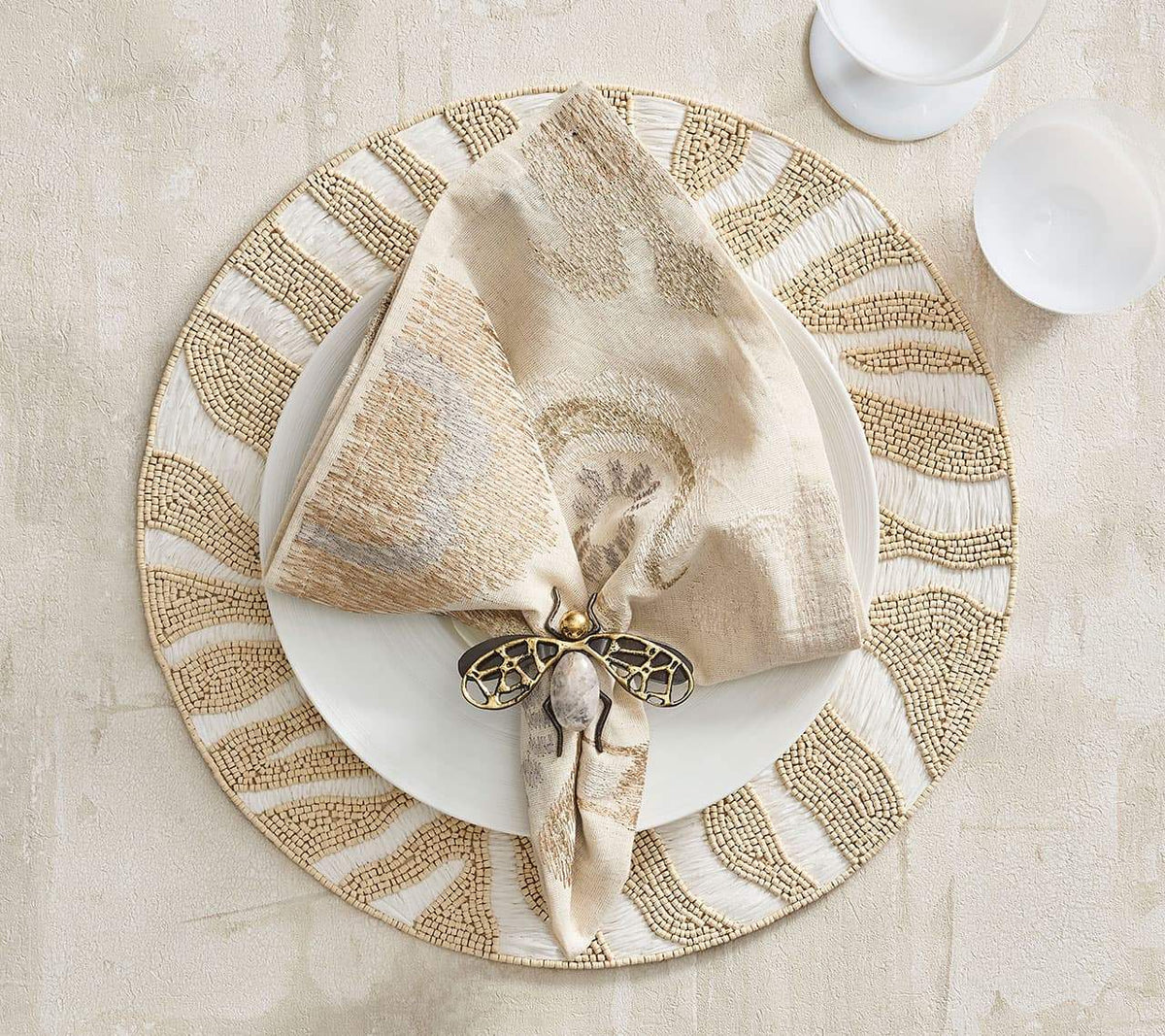 Marrakech Napkin in Natural, Ivory and Gold