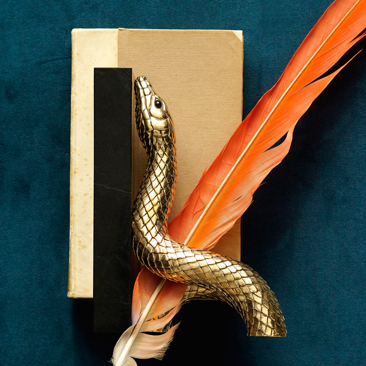 Snake Gold Bookends