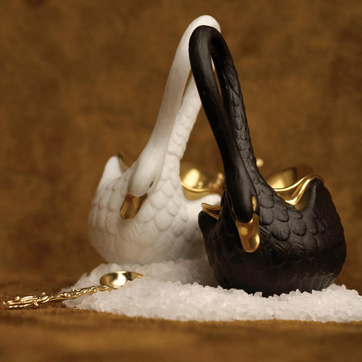 White Swan Salt Cellar with 14K Gold Plated Spoon