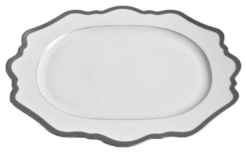 Antique White Oval Platter With Brushed Platinum