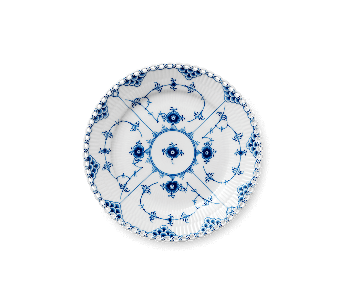 Blue Fluted Full Lace Dessert Plate
