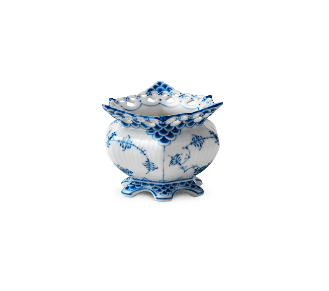 Blue Fluted Full Lace Sugar Bowl