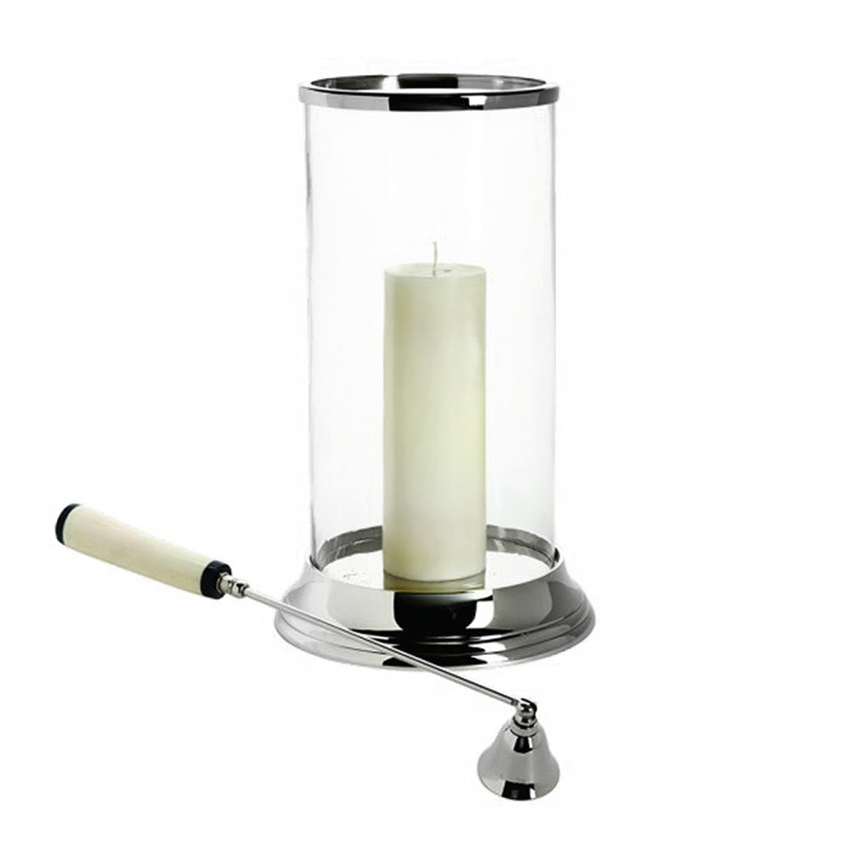 Glass Hurricane with Bone Candle Snuffer